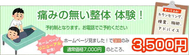 痛みの無い整体体験。通常価格7,000円を3,500円